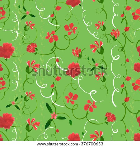 Seamless raster pattern with curves, stylized flowers, buds, leaves and stems on green flash background. Floral ornament hand painted with acrylic in one stroke and watercolor techniques