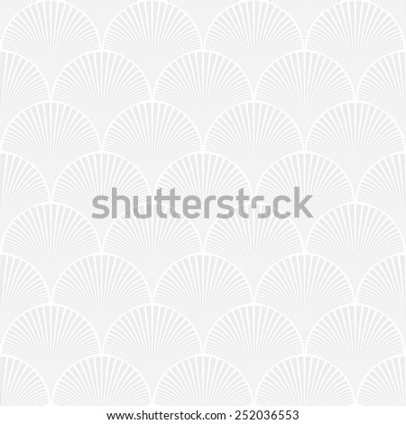 Seamless subtle gray japanese art deco floral waves pattern
