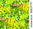 seamless texture macro green oil painting on canvas with brush strokes - stock photo