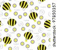 Seamless texture with bees who collect honey - stock vector