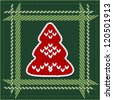 Seamless tile with bright red knitted Christmas fir tree - stock photo