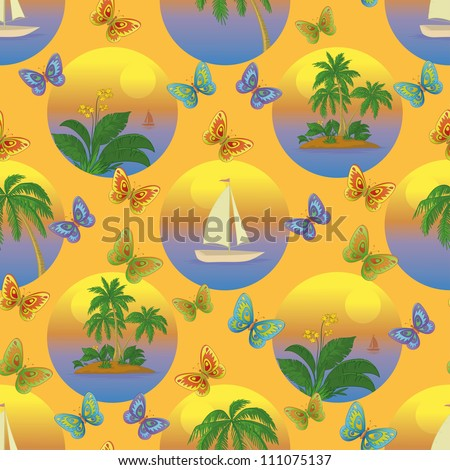 Seamless tropical background with a boat at sea, butterflies, palms and flowers