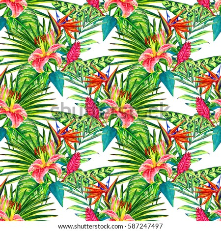 Seamless Tropical Floral Pattern. Watercolor Exotic Plants: Flowers Of  Heliconia And Bromelia, Pink