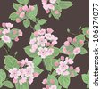 Seamless vector floral pattern with flowering apple tree - stock photo