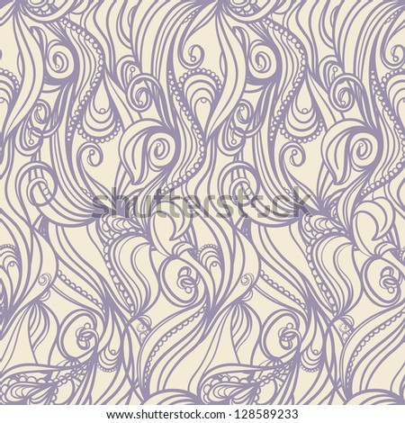 seamless vertical picture with floral pattern on beige background