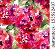 Seamless wallpaper with Beautiful Hydrangea red flowers, watercolor illustration  - stock