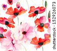 Seamless wallpaper with Colorful pink flowers, watercolor illustration - stock
