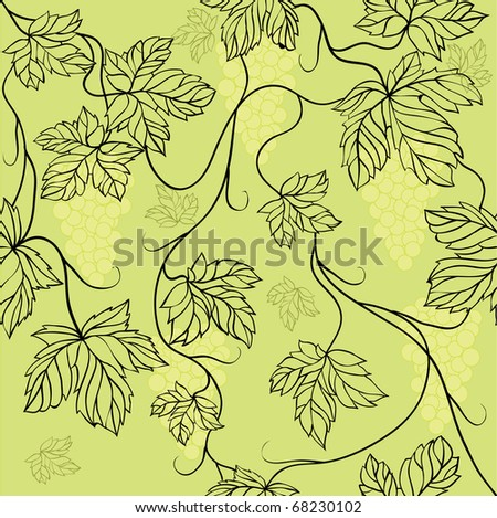 Seamless Wallpaper with floral ornament with leafs and grapes for vintage design,  retro background