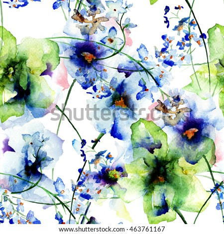 Seamless wallpaper with Pansy  and Gerber flowers, watercolor illustration