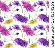 seamless wallpaper with Pink, Purple, Yellow flowers, watercolor illustration - stock vector