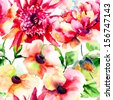 Seamless wallpapers with Beautiful Pink flower, Watercolor painting  - stock