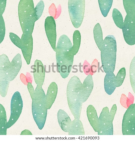 Seamless watercolor cactus pattern on paper texture. Botanical cacti background