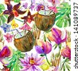 seamless watercolor pattern with flowers and coconuts - stock photo