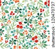 Seamless watercolor pattern with leafs and berries - stock vector