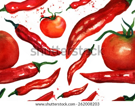 Seamless watercolor red hot chili peppers background pattern