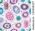 Seamless white pattern with colorful balls and flowers and polka dots - stock photo