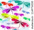 Seamless white pattern with vivid translucent colorful dragonflies and fireworks - stock photo