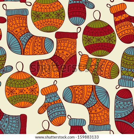 seamless winter  Christmas pattern with socks, mittens, fir tree balls and snowflakes,