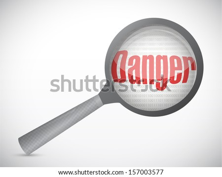 search for possible danger. magnify glass illustration design over white
