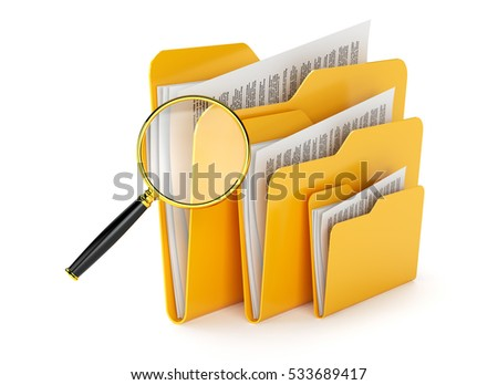 Searching a files in folders isolated on white.3d illustration