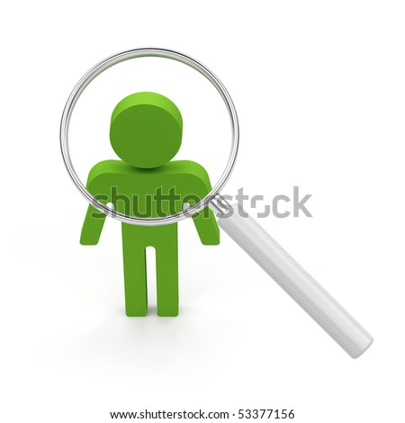 Searching for a person. 3d render illustration on white background.
