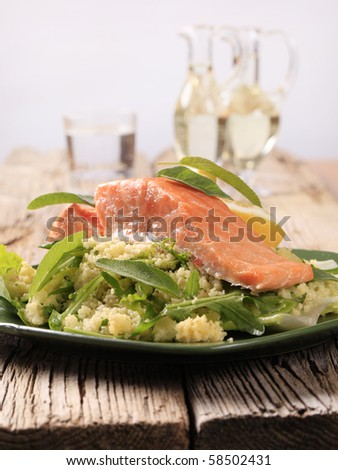 Seared salmon fillet with couscous salad