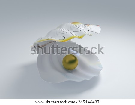 seashell with golden pearl on a white background