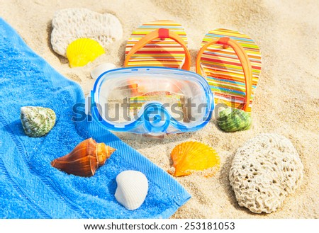 Seashells, diving mask and sandals on the beach