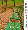 Seasongood Pavilion Benches - The green benches at Seasongood Pavilion are empty as they sit among the dried leaves in autumn. Eden Park, Cincinnati Ohio, USA - stock photo