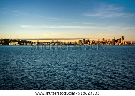 Seattle City Skyline View from Elliott Bay in Washington State