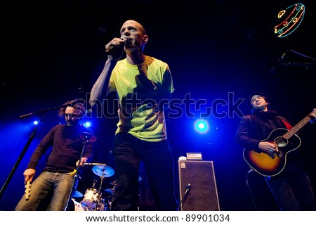 SEATTLE - DECEMBER 8, 2011:  Chris Ballew, Jason Finn and Andrew McKeag of rock band The Presidents of the United States perform on stage during the Deck the Hall Ball in Seattle on December 8, 2011.
