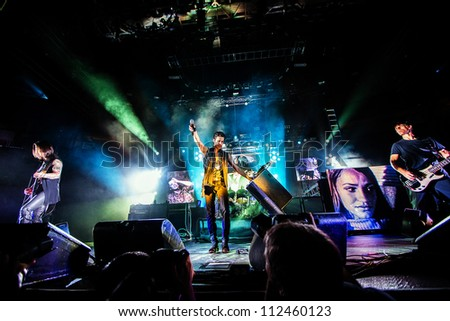 SEATTLE - SEPTEMBER 1, 2012:  Alternative Rock band Jane's Addiction performs on stage at Key Arena in Seattle during the music festival Bumbershoot on September 1, 2012.