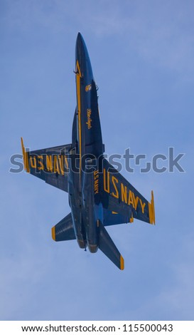 SEATTLE, WA - AUGUST 5: The Blue Angels squadron performs at the Seattle Seafair festival August 5, 2012 in  Seattle, WA.