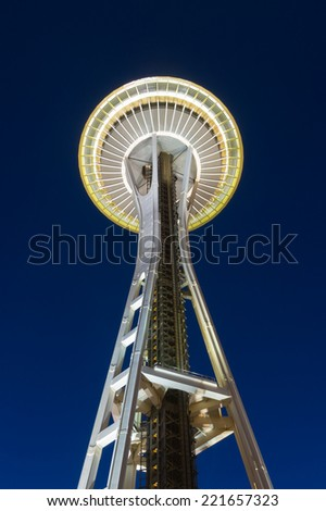 Seattle, Washington, USA - June 5, 2014: Lighted Space Needle tower in Seattle at twilight time.