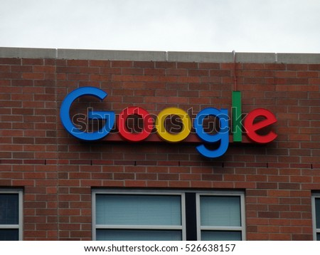 SEATTLE, WASHINGTON/USA - June 24, 2016: Outside View of Google Logo on Office Building in Seattle, Washington