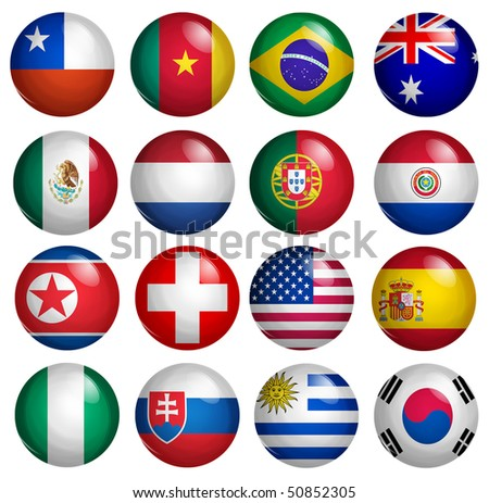 second set of 16 participants of the soccer world cup flags buttons