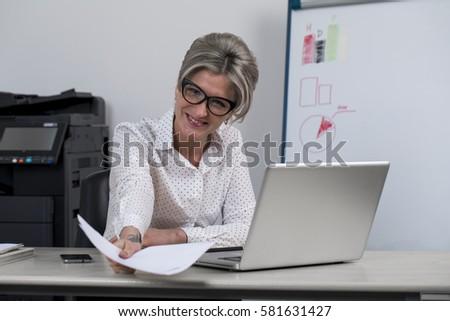 secretary office portrait beautiful young woman stock photo 581631403