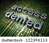 Security concept: circuit board with word access denied, 3d render - stock photo