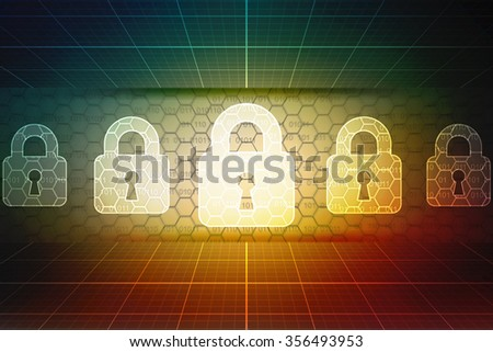 Security concept: Lock on digital screen