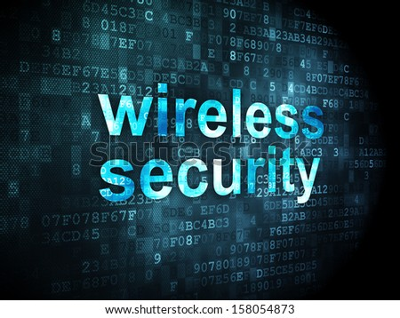 Security concept: pixelated words Wireless Security on digital background, 3d render