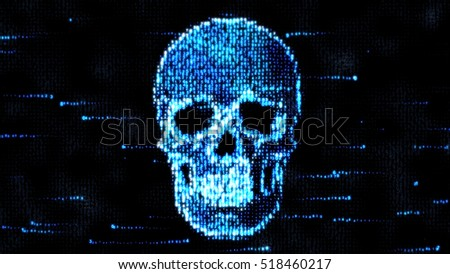 Security Concept. Skull of binary code. Piracy on the Internet