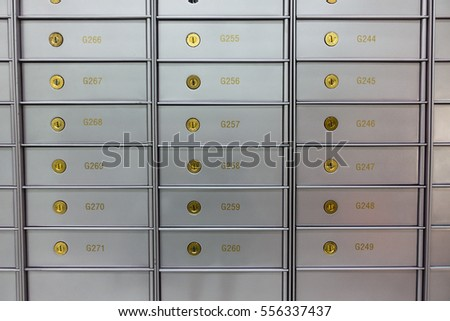 Security deposit box in a safe room, useful for wealth, business, finance concepts