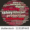 security info-text graphics and arrangement concept on black background (word cloud) - stock