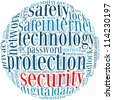 security info-text graphics and arrangement concept on white background (word cloud) - stock vector