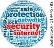 security internet info-text graphics and arrangement concept on white background (word cloud) - stock