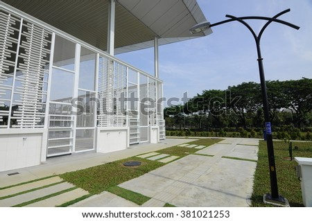 SELANGOR, MALAYSIA - JUNE 15, 2015: Ablution of Ara Damansara Mosque at the Ara Damansara, Selangor, Malaysia. It is a modern design mosque and has gold medal award in the green technology index.