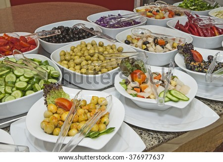 Selection display of salads at a luxury restaurant buffet bar area