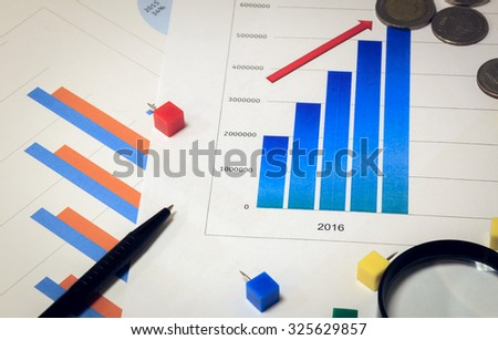 Selective focus calculator,magnifier,pen,coin,peg on chart ,background.