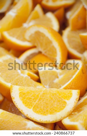 Selective focus of fresh oranges cut
