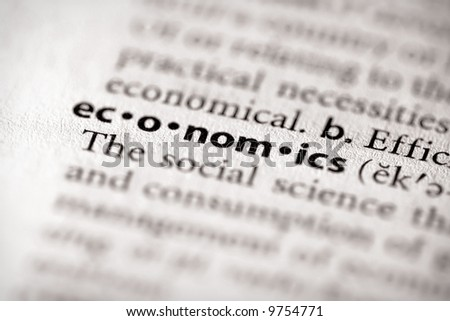 "Selective focus on the word ""economics"". Many more word photos for you in my portfolio..."
